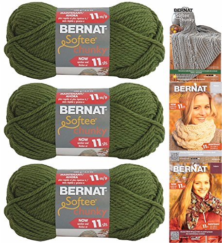 Bernat Softee Chunky Yarn Bundle Super Bulky #6, 3 Skeins Eucalyptus 28247