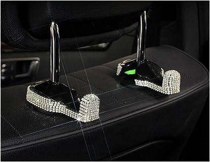 Pinbola 2-Pack Bling Bling Car Back Seat Hooks Headrest Hanger Luster Crystal Diamond Car Decor Accessories for Women Universal Fit