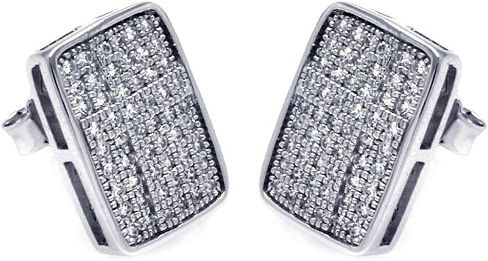 Pave Set Cubic Zirconia Rectangle Shape Earrings Rhodium Plated Sterling Silver