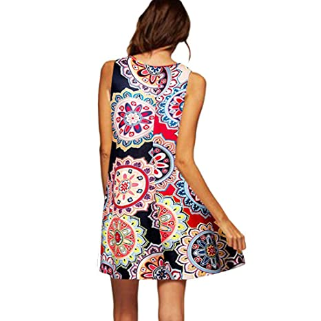 4e0ff42809c Amazon.com  Copercn Women s Ladies Bohemia Print Classic Casual O-Neck  Round Collar Sleeveless Loose Mini Dresses Short Dresses Daily Shift Dresses   ...