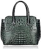 Pijushi Designer Crocodile Handbags Genuine Leather Ladies Top Handle Shoulder Bag 66332(Black/Green)