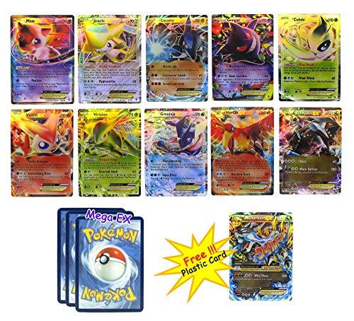 EX Pack - Set of 10 Cards - Mew Jirachi Lucario Gengar Celebi Ho-oh Black Kyurem Greninja Virizon Victini with 3 Random Mega EX Packed in Box Case / Sleeve Free Charizard Mega EX Plastic Card (Pokemon Celebi Ex)
