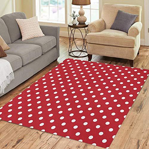Pinbeam Area Rug Yellow Poka Polka Dots White and Red Polkadot Home Decor Floor Rug 3' x 5' Carpet