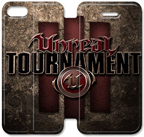 Flip étui en cuir PU Stand pour Coque iPhone 5 5S, bricolage 5 5S Coque Case étui de téléphone cellulaire Unreal Tournament Epic Games Sci Fi Shooter U8W4BJ Coque iPhone en cuir Plastique