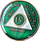 4 Year AA Medallion Metallic Green Tri-Plate Gold Plated Chip IV