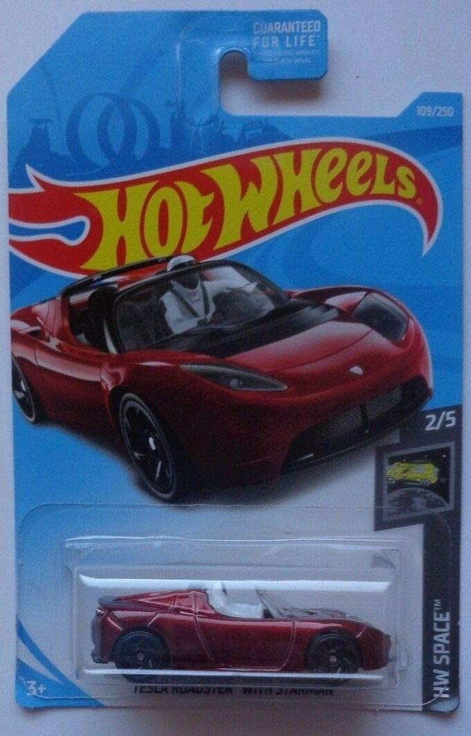 Hot Wheels 2019 HW Space Tesla Roadster with Starman Figure109/250, Maroon