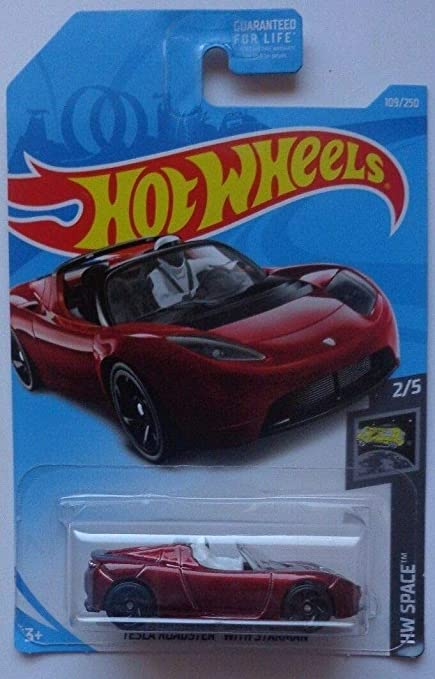 d93583e3a3be9 Hot Wheels 2019 HW Space Tesla Roadster with Starman Figure 109/250, Maroon
