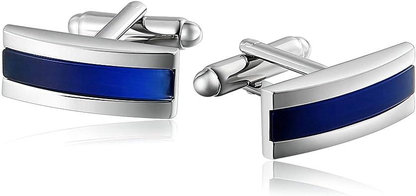 KnSam Gemelos para Novios Ingeniero Gemelos de Circonita Curvada de Tres Rayas Gemelos Camisa Hombre Acero,Plata Azul: Amazon.es: Joyería