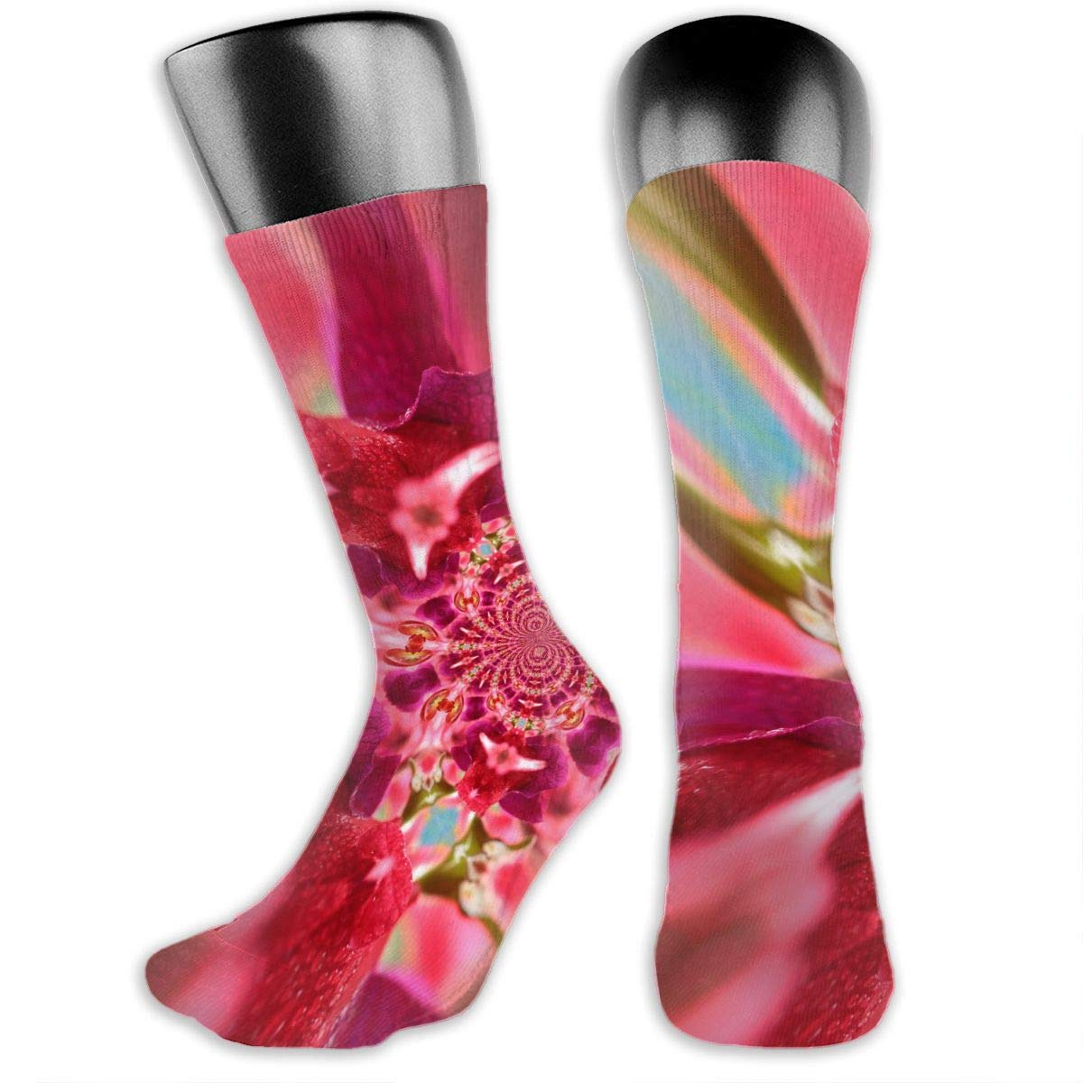 OLGCZM Psychedelic Fractal Tropical Flowers Men Womens Thin High Ankle Casual Socks Fit Outdoor Hiking Trail