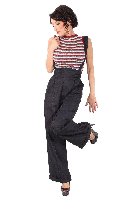 SugarShock Damen Hosenträger Marlene Retro Denim Rockabilly Jeans High Waist Hose