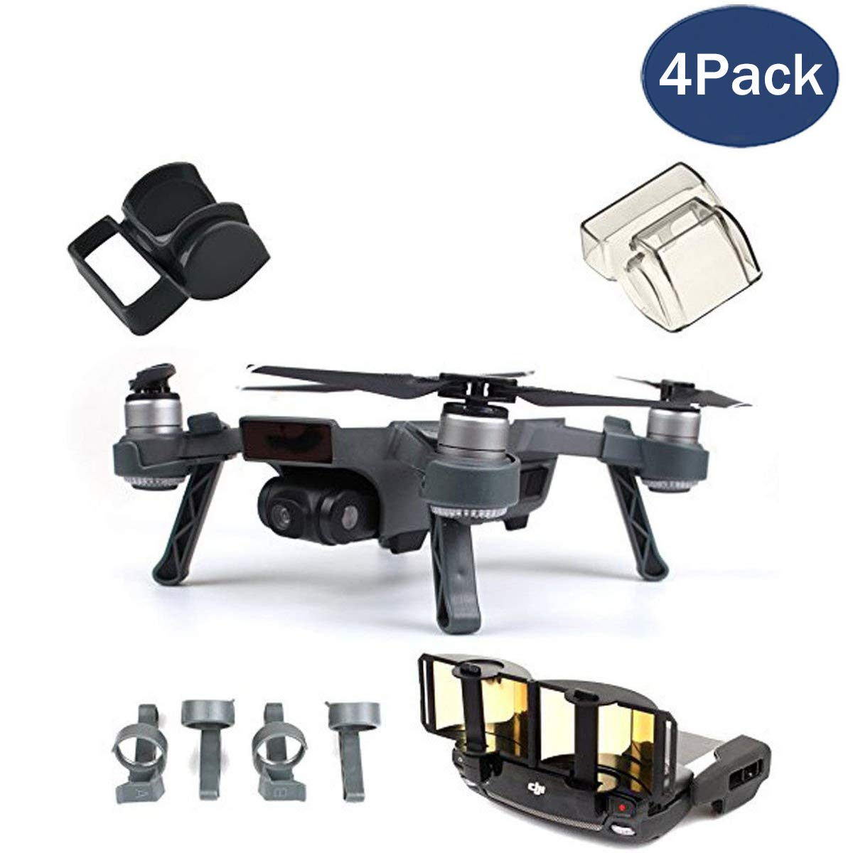 Fstop Labs Accessories Set Bundle Combo for DJI Spark, Lens Cap Hood Sun Shade Camera Cover Protector Landing Gear Antenna Range Booster (4 Pack) by Fstop Labs