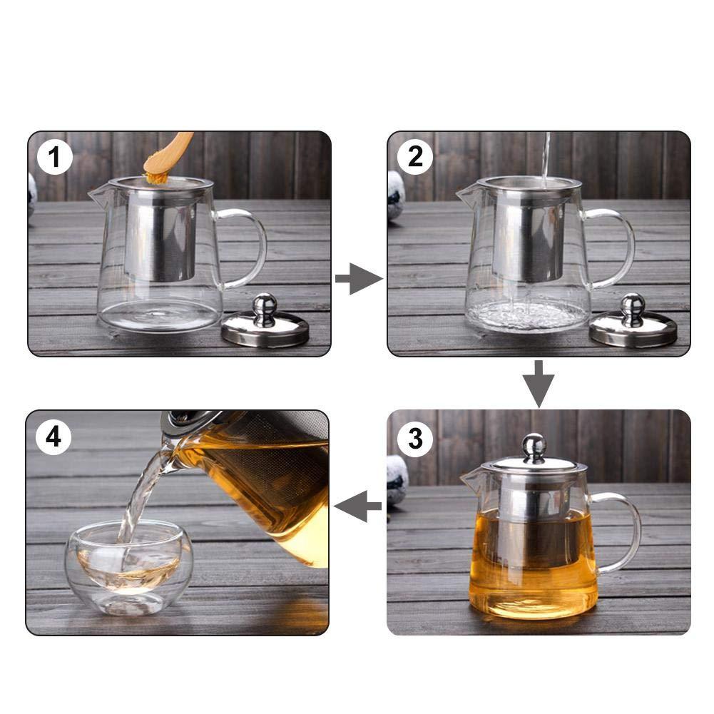 pichet /à jus th/é glac/é Blue-Yan Pichet en Verre avec Couvercle et Filtre en Acier Inoxydable Lait Carafe /à jus 450 ML th/é au Citron et caf/é carafes /à jus pour jus