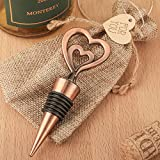 50 Double Heart Bottle Stoppers in Antique Copper Finish