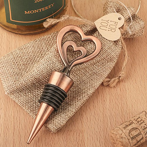 50 Double Heart Bottle Stoppers in Antique Copper Finish by Fashioncraft