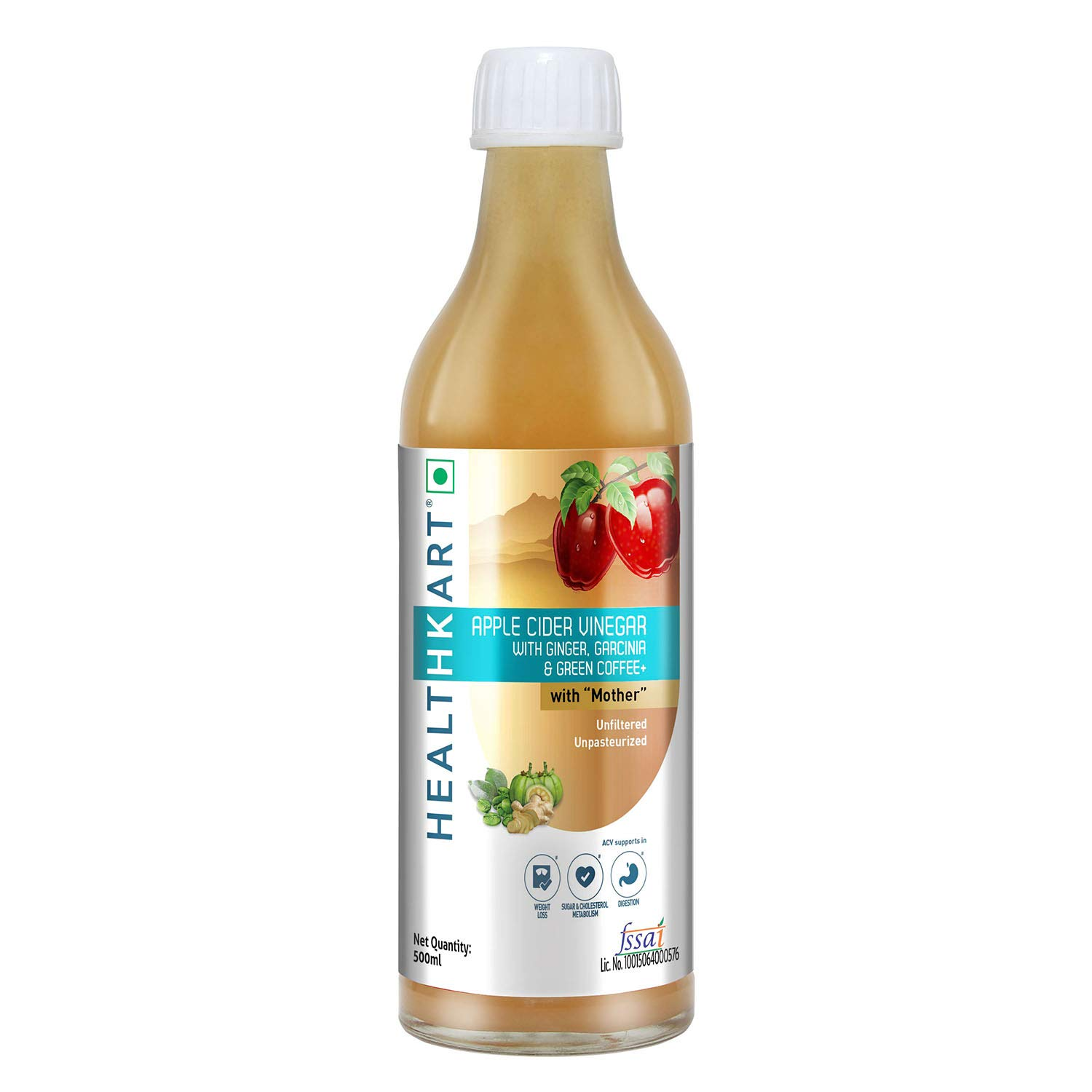Healthkart Apple Cider Vinegar For Weight Management With Ginger Garcinia Green Coffee 500 Ml