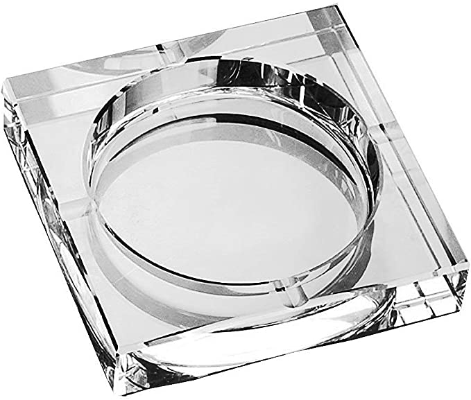Heavy Crystal Ashtray with Cherry Design 6 x 6 inch Glass
