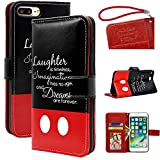 """Disney Quotes iPhone 7 plus 5.5"""" wallet Case, Onelee - Walt Disney Quotes Premium PU Leather Case Wallet Flip Stand Case Cover for iPhone 7 plus with Card Slots"""