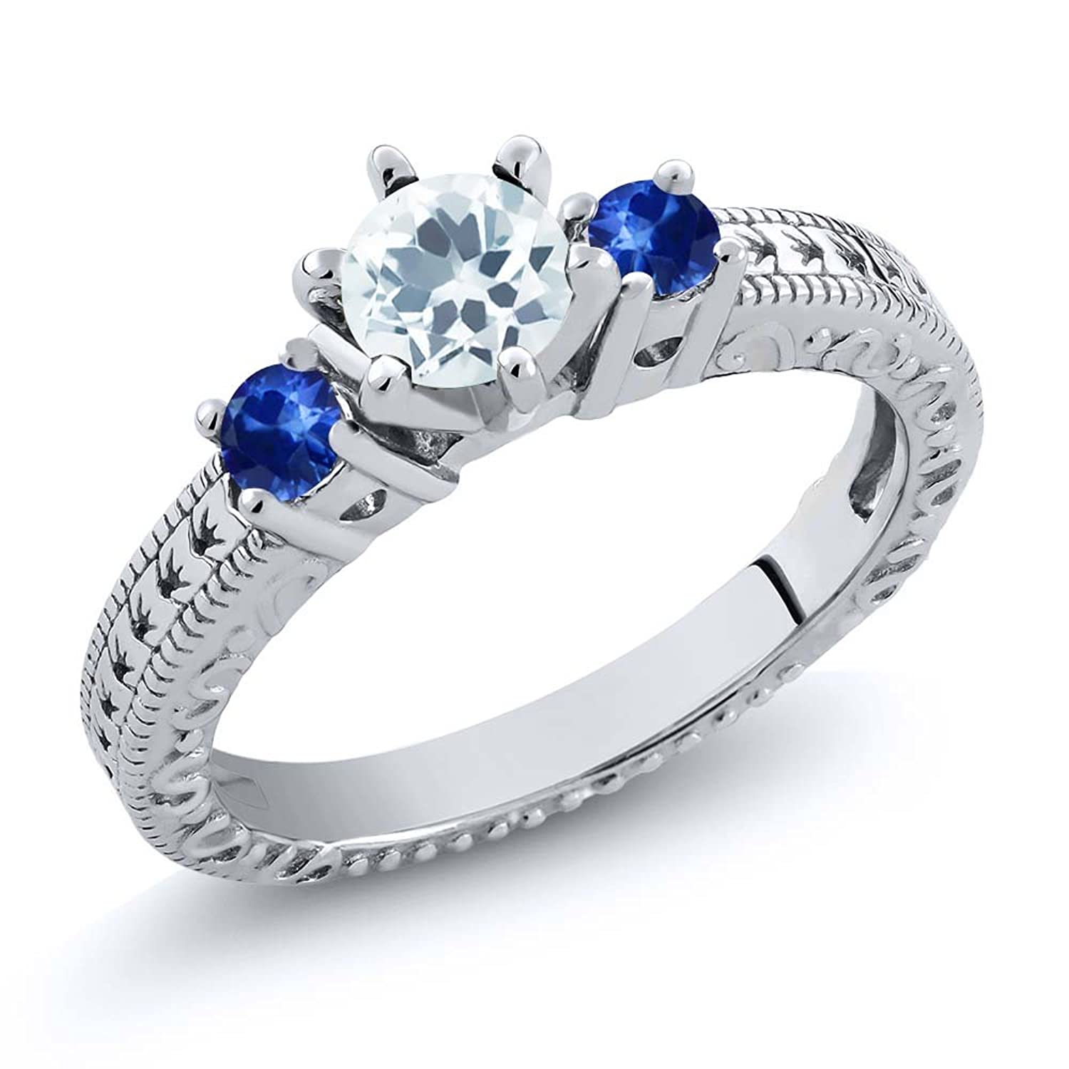0.71 Ct Round Sky Blue Aquamarine Blue Sapphire 925 Sterling Silver 3-Stone Ring