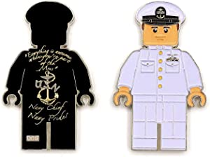US Navy Chief Petty Officer in Black or White Chief Dress Mess, Navy Chief Navy Pride Challenge Coin - Choose from 4 Different Options (M-WHT)