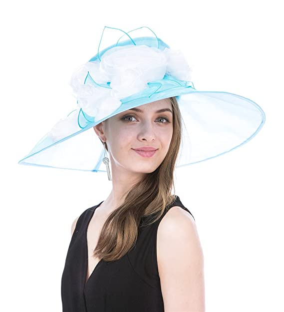 5b30d8d1ced30 SAFERIN Women s Organza Church Kentucky Derby Fascinator Bridal Tea Party  Wedding Hat(SF3-Wide Brim Blue) at Amazon Women s Clothing store