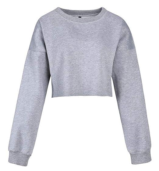 45ba6d3a2225 Security Women s Sexy Blouse Tops Long Sleeve Crewneck Crop Top Sweatshirt  ...