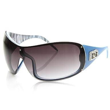 1fb86d00667 DG Eyewear Large Oversized Shield Womens Fashion Sunglasses (Blue ...
