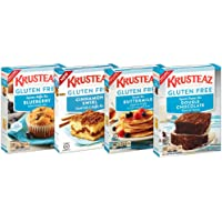 Krusteaz Gluten Free Mix Variety Pack: Blueberry Muffin, Cinnamon Crumb Cake, Double Chocolate Brownie and Pancake Mix (Bundle of 4)