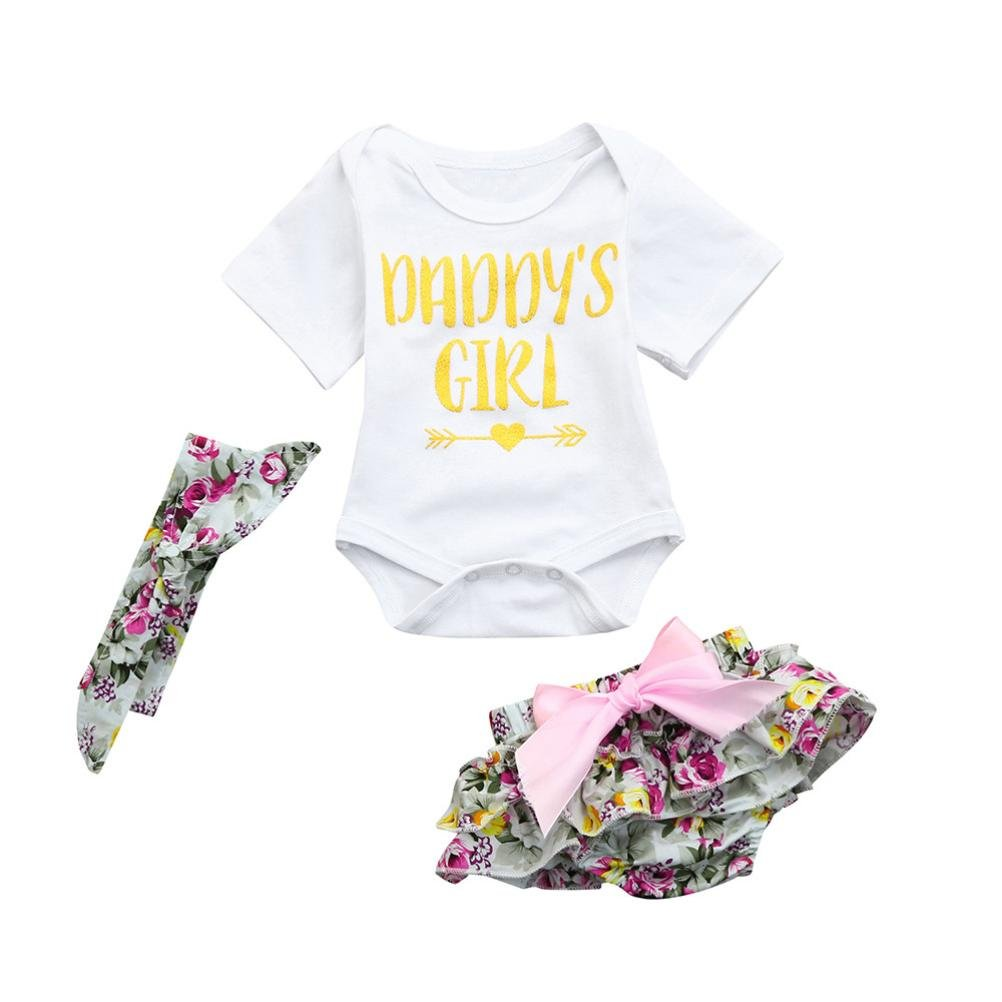 Winsummer Baby Girl Daddy's Girl Print Arrow Romper+Multi-Ruffle Ruffle Bowknot Shorts+Headband Father's Day Set (Green, 6M)