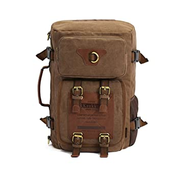 KAUKKO multifuncional lienzo mochila mochila portátil mochila dos tipos de usos de viaje oscuro color caqui: Amazon.es: Deportes y aire libre