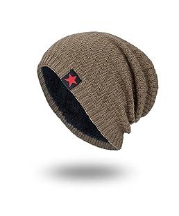 Cappello Uomo, Rcool Uomini e donne stella a cinque punte più cappelli autunnali e invernali in velluto (Cachi)