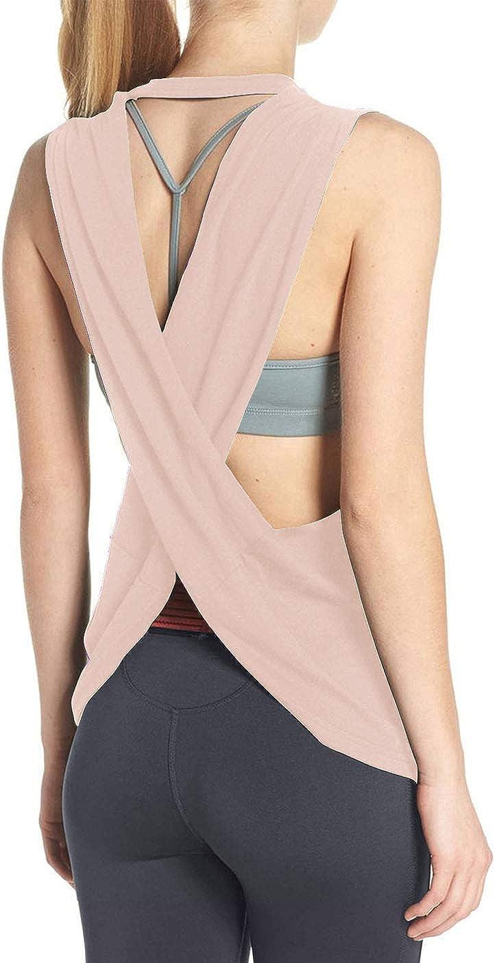 Fihapyli Womens Sleeveless Open Back Shirt Flowy Yoga Top Loose Women Running Tops Backless Active Top Sports Workout Tanks