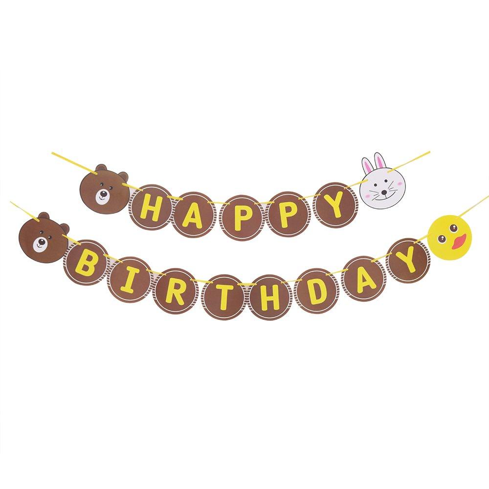 YUINYO Brown bear cartoon animal Happy Birthday Banner Colorful Bunting (Mixed color)
