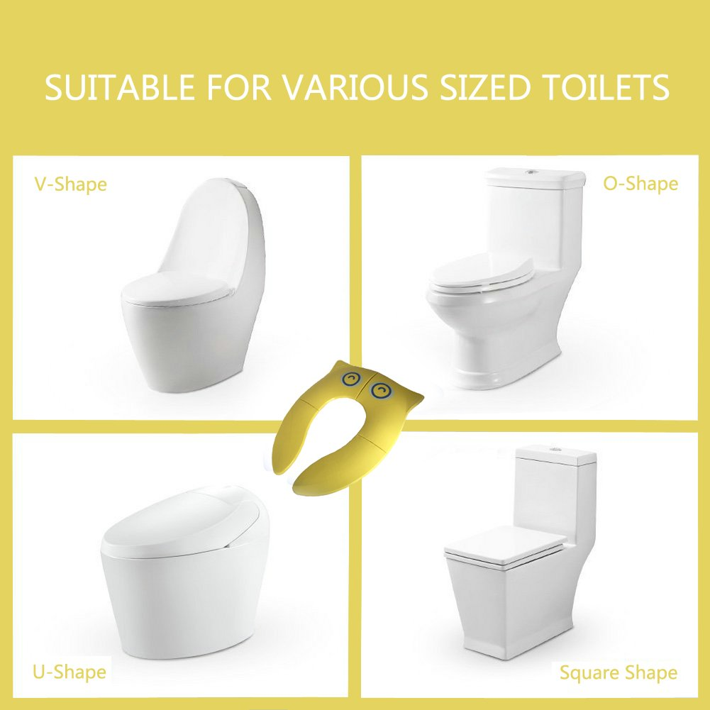 Yellow Portable Travel Folding Potty Seat Foldable Potty Training Seats Best Potty Seat for Toddlers Baby Boys Girls