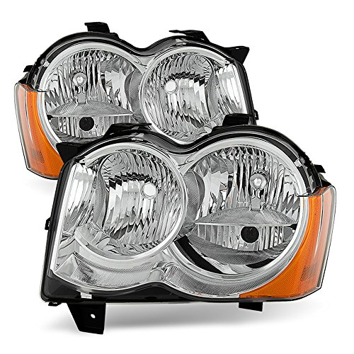 ACANII - For [Halogen] 2008-2010 Jeep Grand Cherokee Factory Headlights Headlamps Driver + Passenger Side