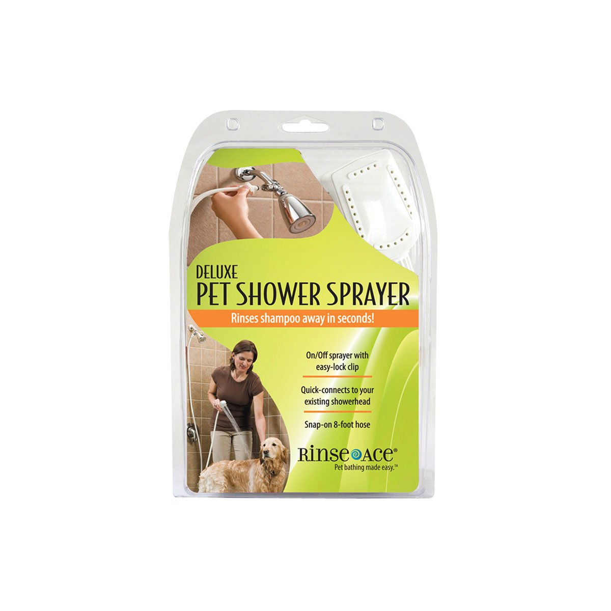 Rinse Ace Deluxe Pet Shower Sprayer 8 foot Hose Showerhead Attachment