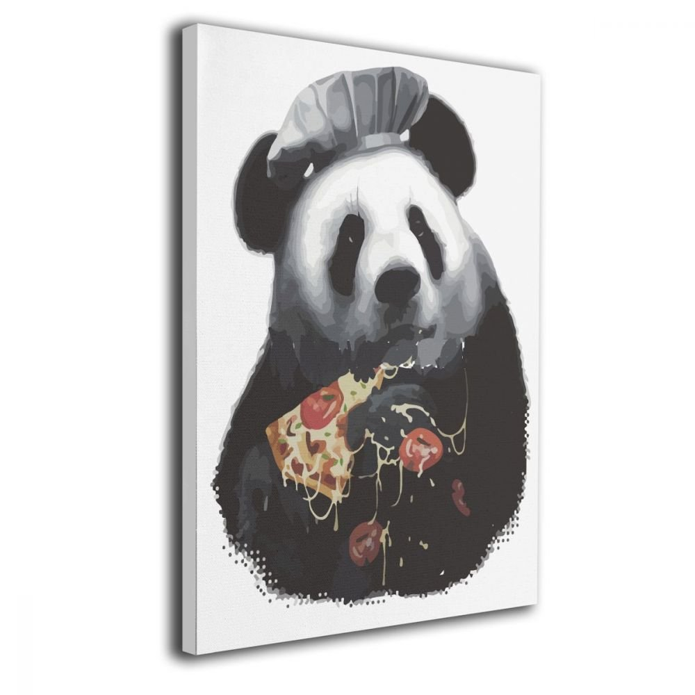 Warm-Tone Art Panda Pizza Canvas Prints Wall Art Oil Paintings For Living Room Dinning Room Bedroom Home Office Modern Wall Decor 16x20 Inch