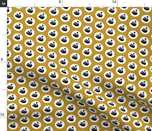 Black Swan Fabric - Coco The Handsome Swans Mustard Yellow Polka Dot White Spots Gold Print on Fabric by The Yard - Chiffon for Sewing Fashion Apparel Dresses Home Decor