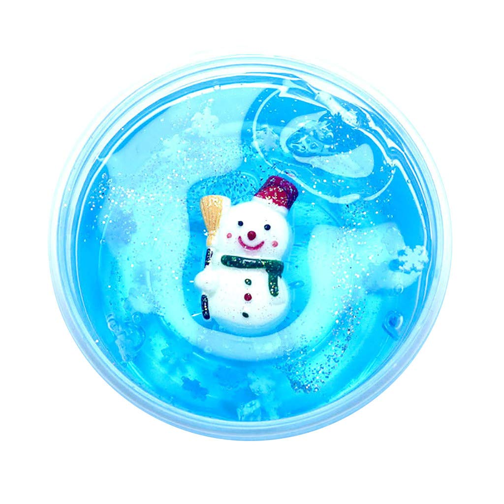 Cyhulu Christmas Slime Putty, Xmas Tree Snowman Santa Claus Elk Clay Fun Toys, Party Birthday Favors for Kids Best Christmas Stress Relief Gifts (Sky Blue, One size)