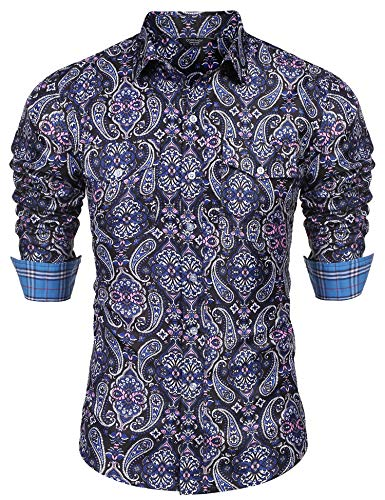 COOFANDY Men's Floral Dress Shirt Slim Fit Casual Paisley Printed Shirt Long Sleeve Button Down Shirts (Nave Blue, Small) ()