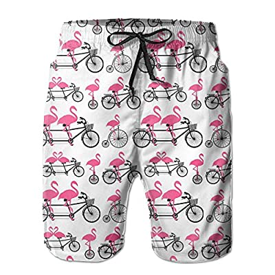 New NaNa Home Flamingo Rides A Bike Men's Quick Dry Beach Shorts Swim Trunks free shipping