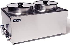 SYBO ZCK165BT-4 Commercial Grade Stainless Steel Bain Marie Buffet Food Warmer Steam Table for Catering and Restaurants, (2 Round Pots with Tap), Sliver