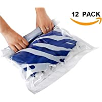 12 Space Saver Travel Compression Storage Bags (12 pack of Sizes Small to Large) Roll Up No Vacuum Needed by EcoGreen Storage