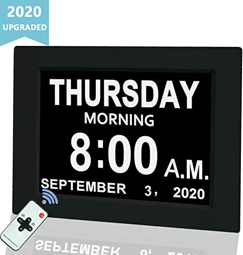 Digital Calendar Alarm Day Clock, 8 Large Screen Display, with 5 Alarm Options, AM PM Function, for Impaired Vision People, Age Seniors, The Dementia, for Desk, Wall Mounted, with Remote Control
