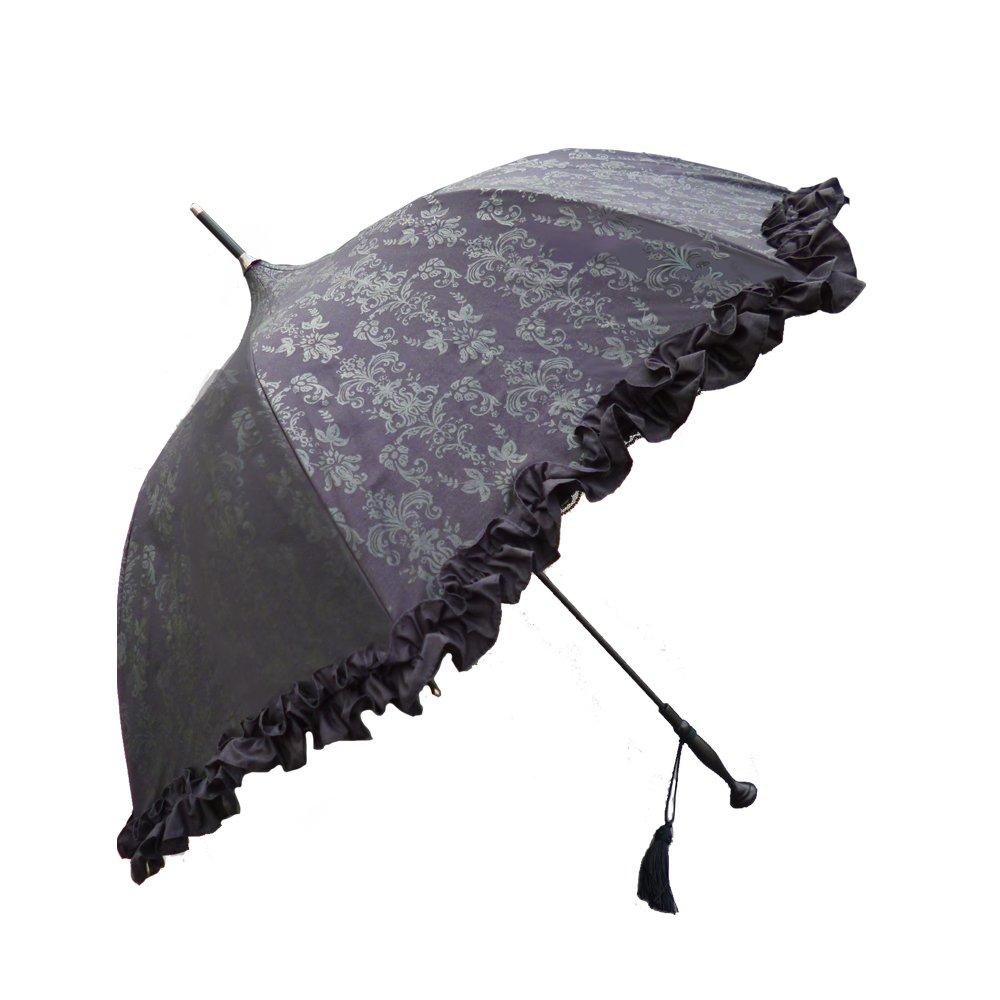 ラルイス アラベスク晴雨兼用傘 全3色 長傘 手開き 日傘/晴雨兼用 ブラック 8本骨 55cm UVカット グラスファイバー骨 03AKS-WAR03BK [正規代理店品] B01825UJP0 ブラック ブラック