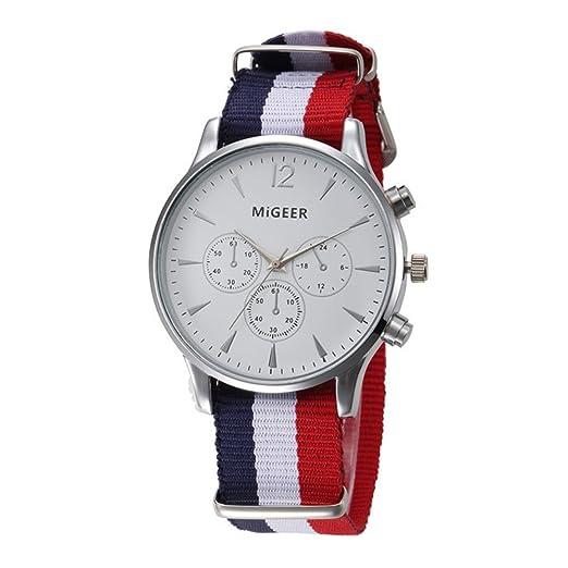 Casual Relojes Mujer Relojes Hombre Relojes de Cuarzo Correa de Nylon Pequeños Dial Decorativo Relojes de Hombres Relojes de Mujer, Blanco-Azul Blanco Rojo: ...