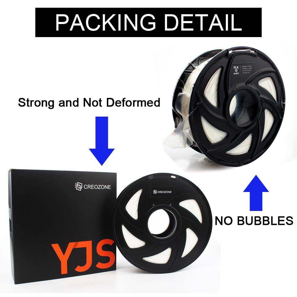 CREOZONE PLA 3D Printer Filament 1.75mm 1KG, 3D Printing Supplies, Dimensional Accuracy +/- 0.03mm, 2.2 LBS Spool, 3D Print Filament 1.75 for Most 3D Printer & 3D Pen (Black)