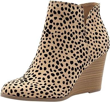 Amazon.es: botines cuña de mujer Cremallera Zapatos