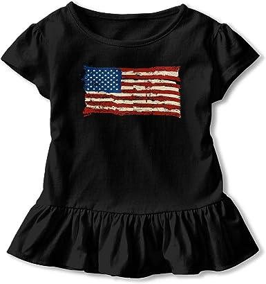 Skull American Flag Kids Girls Short Sleeve T Shirts Ruffles Shirt Tee for 2-6T