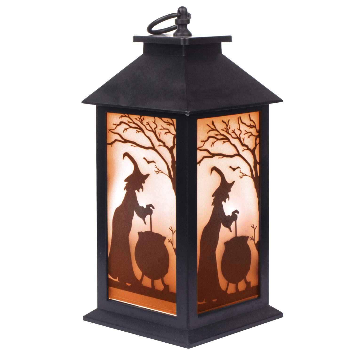 KI Store Halloween Decorations Flickering Flame Effect Lantern Lights Hanging Lanterns Battery Operated for Mantel Window Tabletop Porch Haunted House Garden Yard Lawn (Lantern Large Witch)
