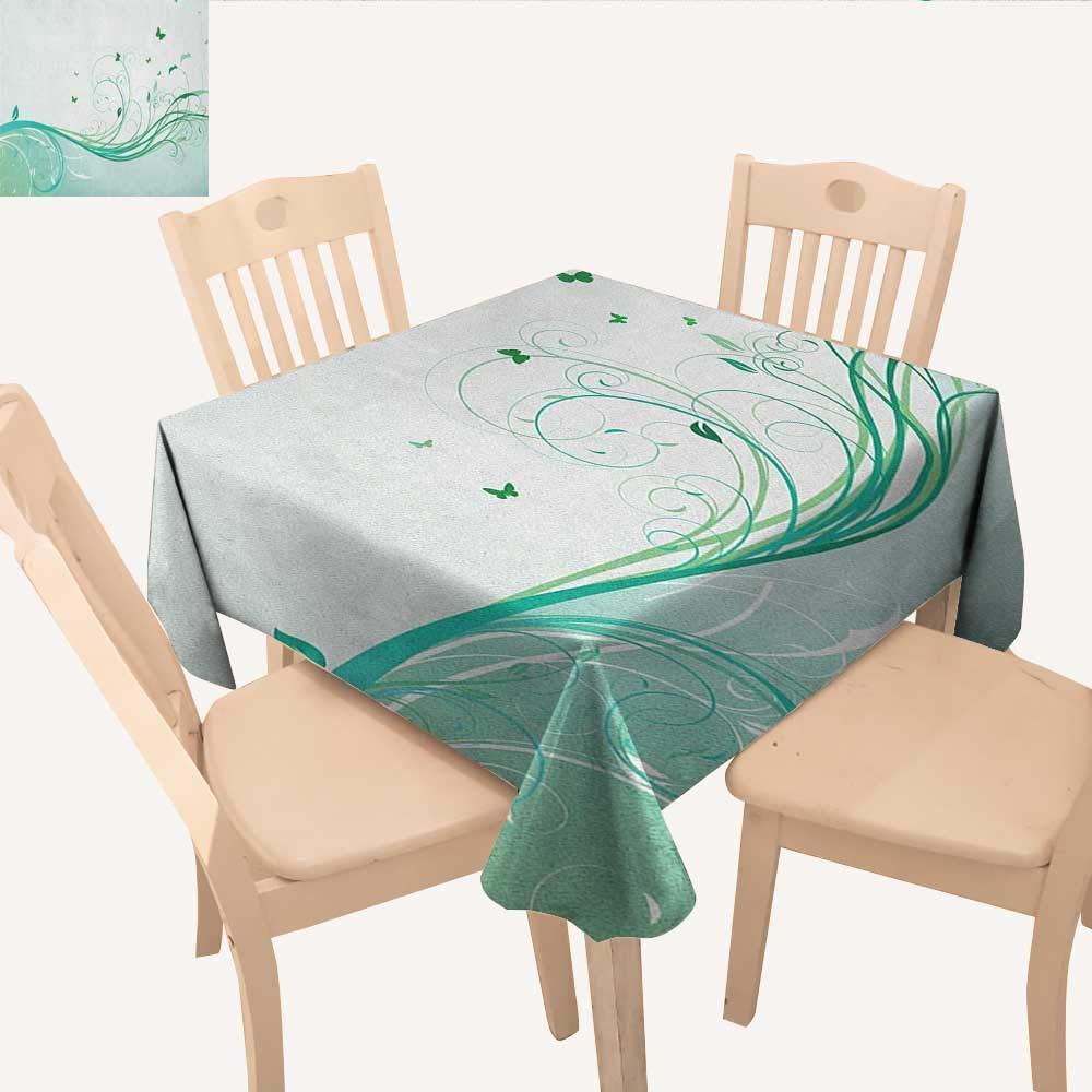 longbuyer ターコイズテーブルカバー 花咲く自然テーマ 渦巻き 渦巻き 渦巻き 葉 茎と水玉 ヴィンテージパターン キッチンテーブルカバー ターコイズホワイト W 54